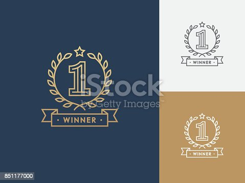 Linear winner emblem with number 1, wreath and ribbon. First place award. Victory, success symbol.