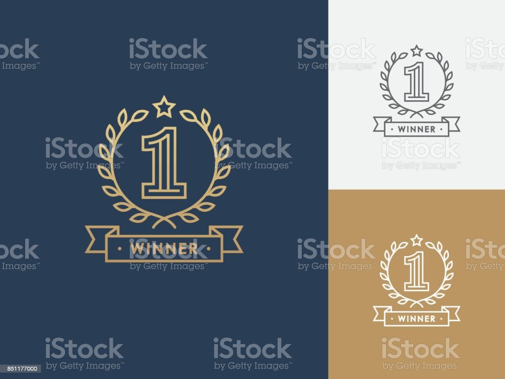 Linear winner emblem with number 1. vector art illustration