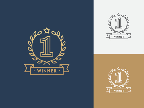 Linear Winner Emblem With Number 1 - Stockowe grafiki wektorowe i więcej obrazów Etykieta