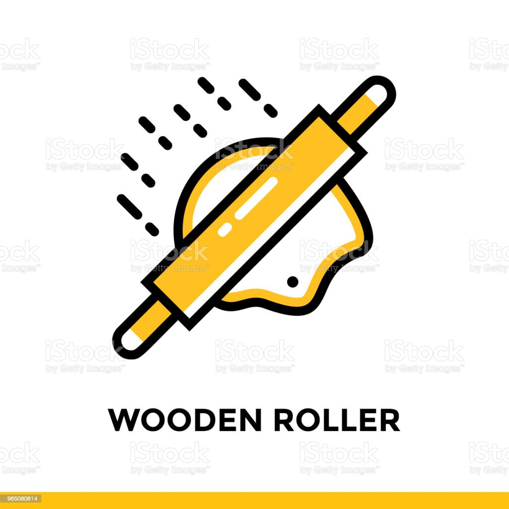 Linear WOODEN ROLLER icon. Vector elements suitable for website and presentation royalty-free linear wooden roller icon vector elements suitable for website and presentation stock vector art & more images of bakery