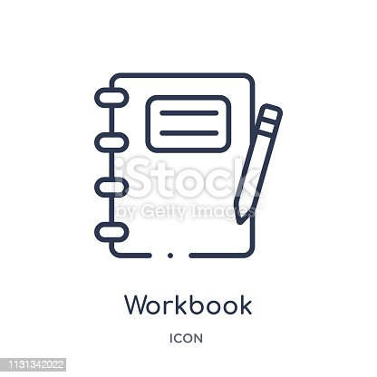 Linear workbook icon from Business and analytics outline collection. Thin line workbook vector isolated on white background. workbook trendy illustration