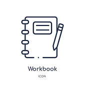 istock Linear workbook icon from Business and analytics outline collection. Thin line workbook vector isolated on white background. workbook trendy illustration 1131342022