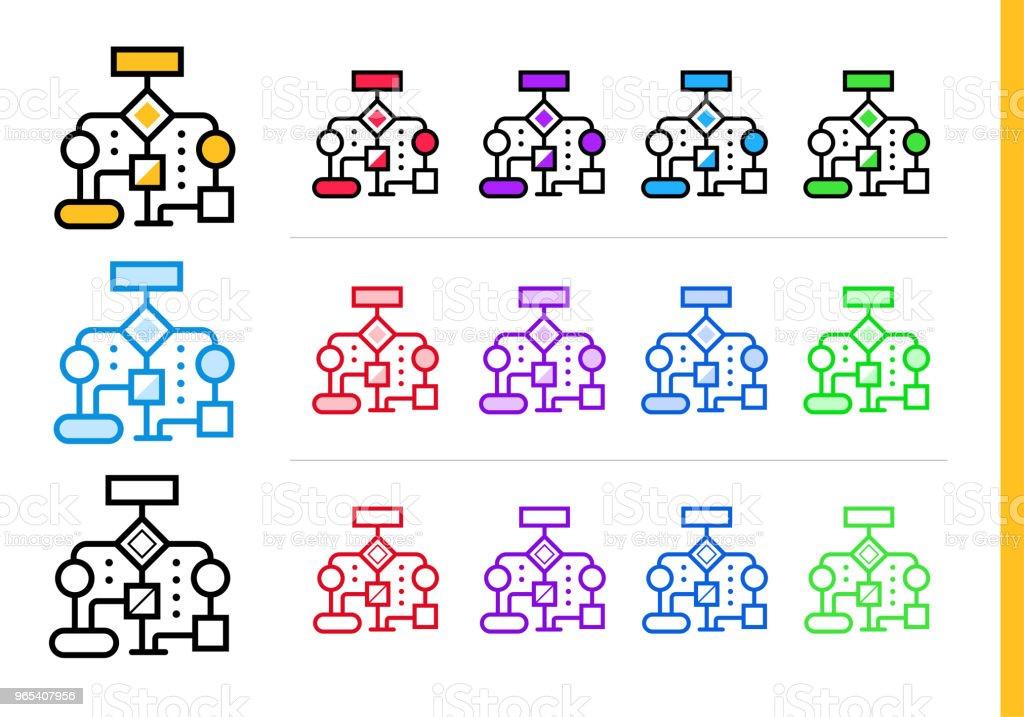 Linearer Workflow Symbol für Startup-Unternehmen in verschiedenen Farben. Vektorelemente geeignet für Website, mobile Anwendung und Präsentation - Lizenzfrei Design Vektorgrafik