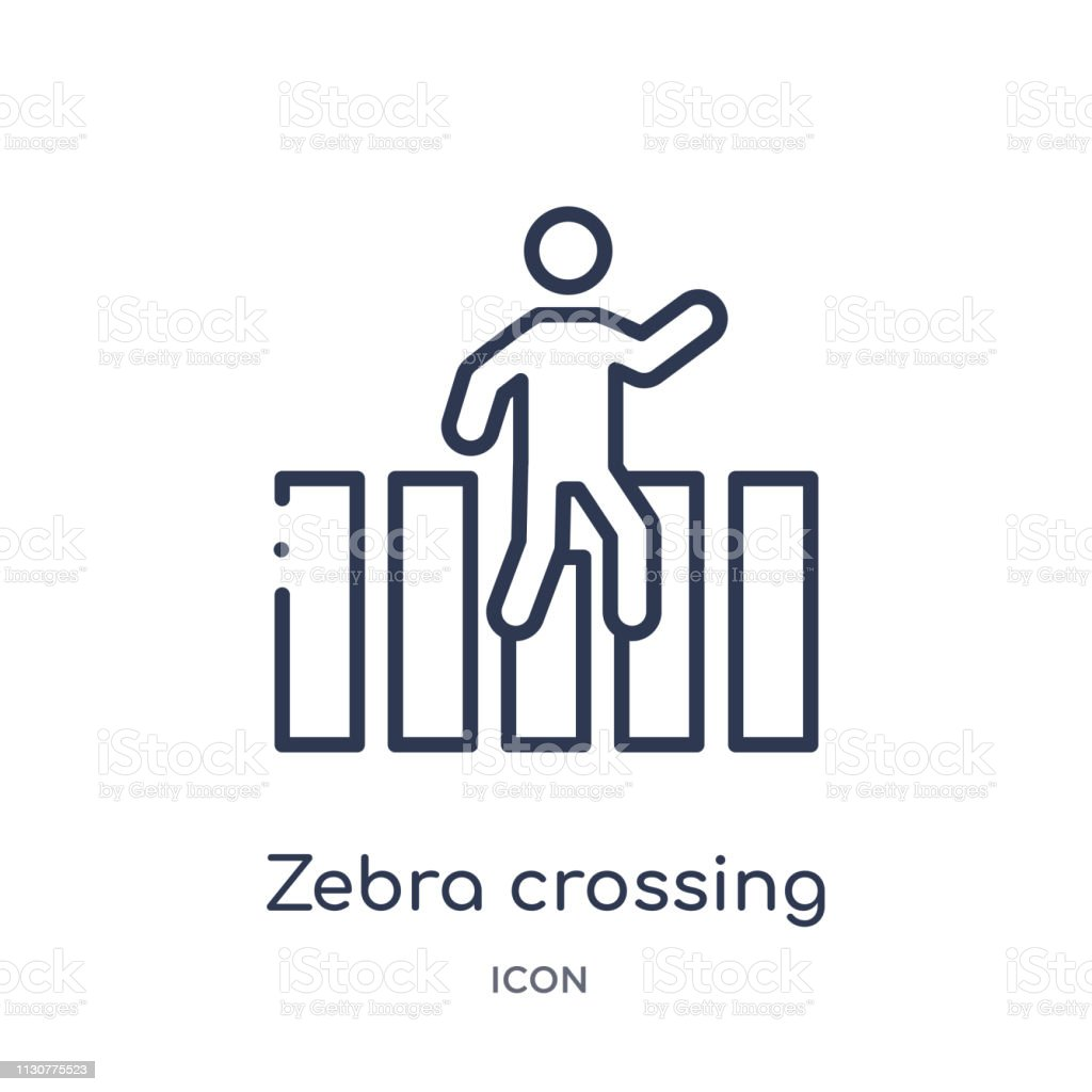 Linear Zebra Crossing Icon From Alert Outline Collection Thin Line