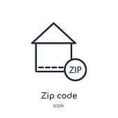 Linear zip code icon from Delivery and logistic outline collection. Thin line zip code vector isolated on white background. zip code trendy illustration