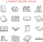 Lineart Book Icons Symbols icons Set Template Web Isometric Isolated Vector Illustration