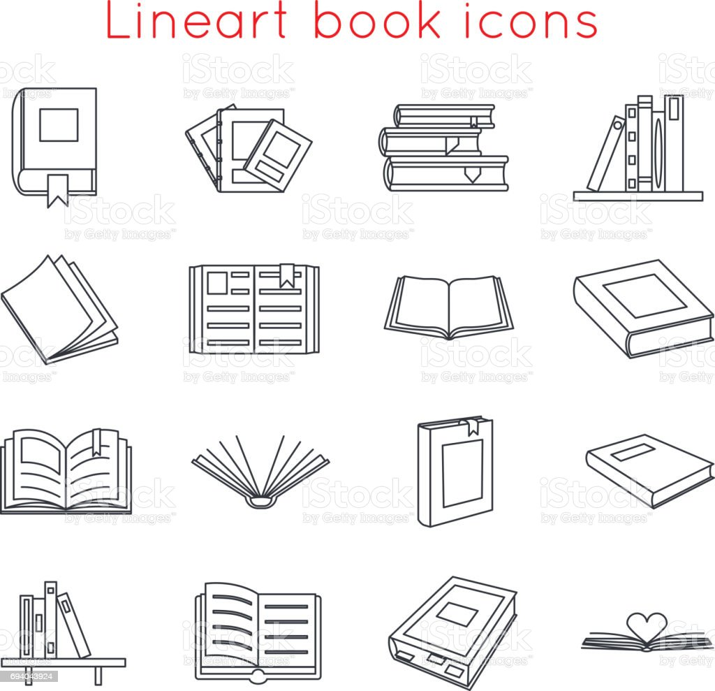 Lineart Book Icons Symbols icons Set Template for Web Isometric Isolated Vector Illustration vector art illustration