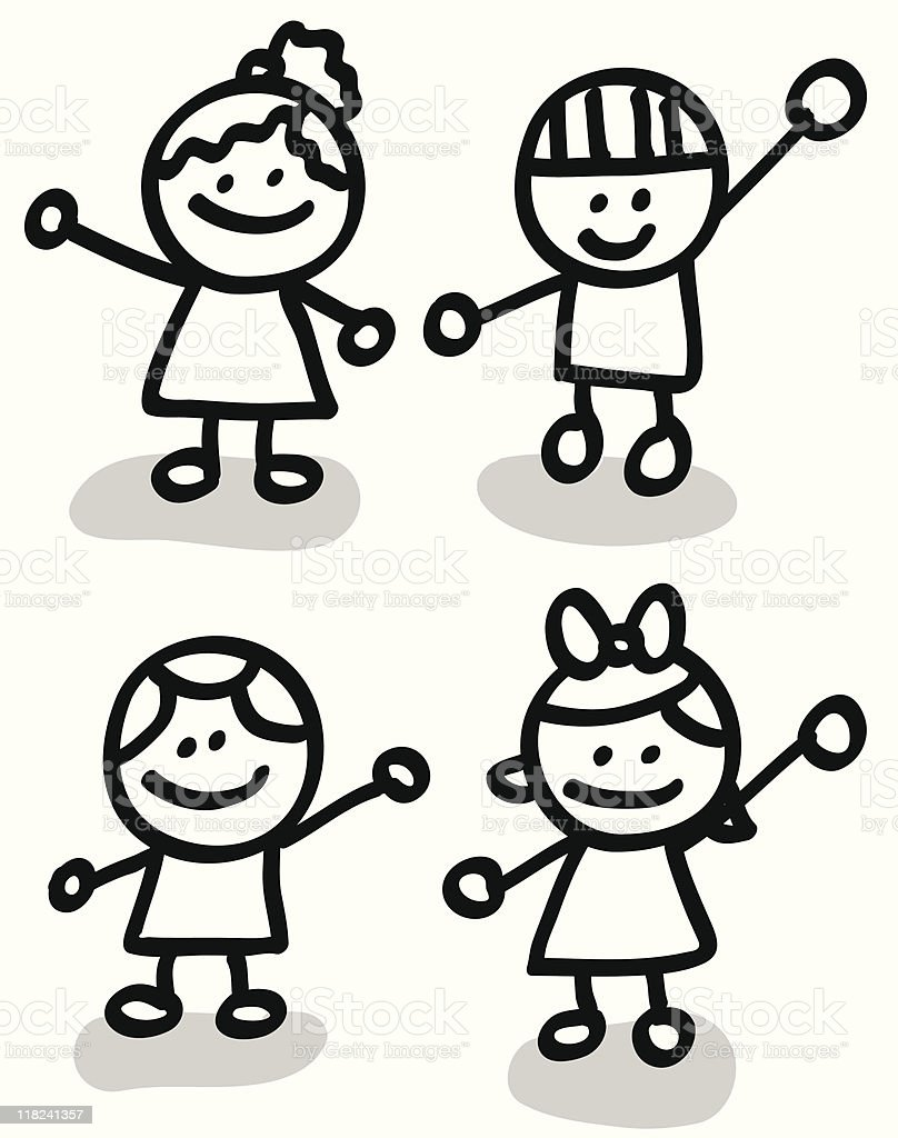 Lineart children group cartoon royalty-free lineart children group cartoon stock vector art & more images of black and white