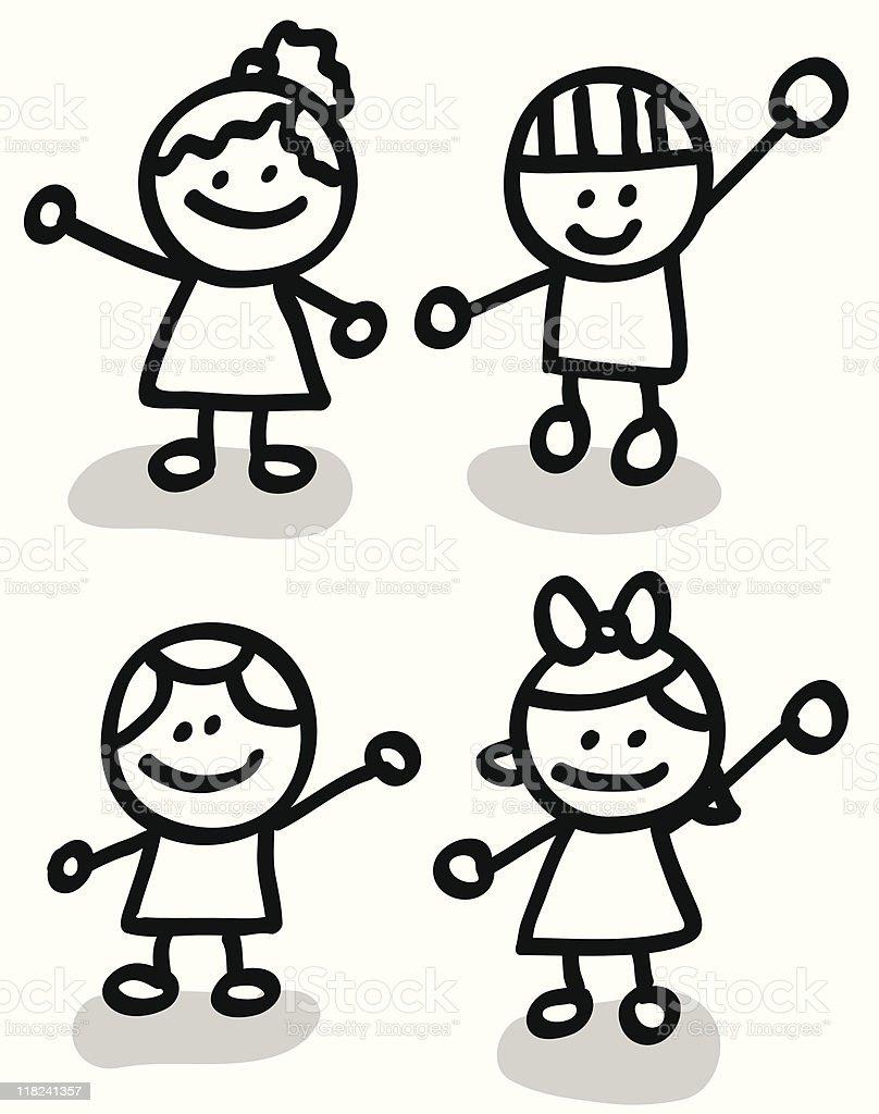 Lineart children group cartoon vector art illustration
