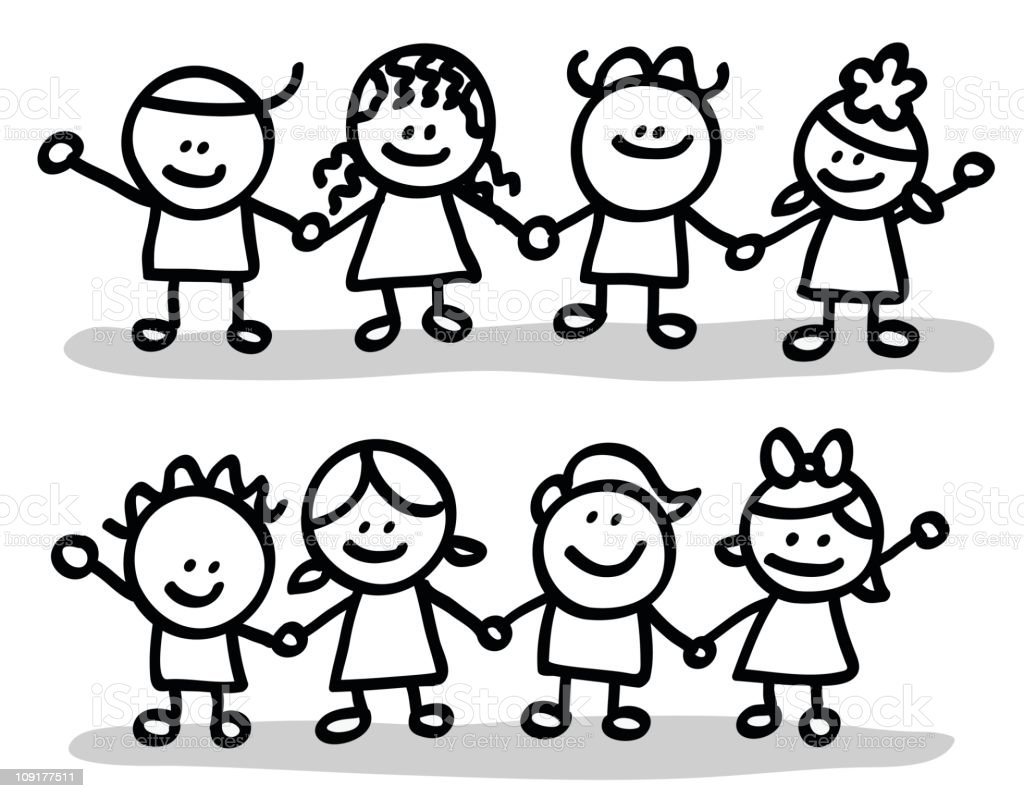 Line Art Group : Lineart children group stock vector art more images of