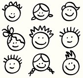 lineart children head cartoons