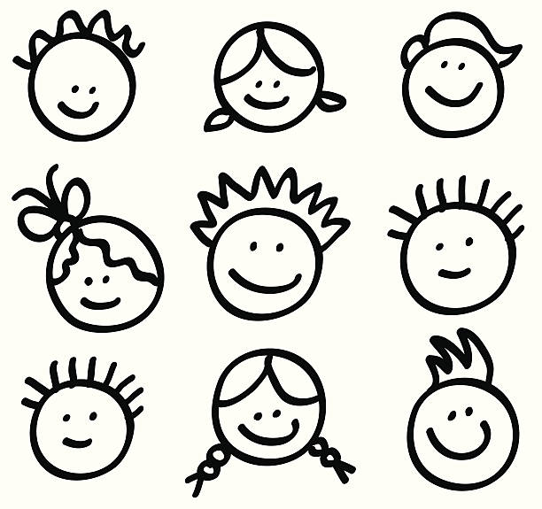 lineart children head cartoons vector art illustration