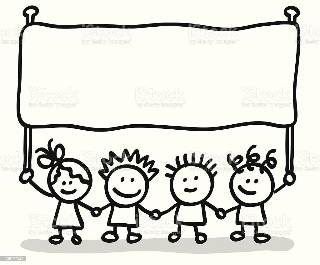 Lineart Children With Banner Stock Illustration - Download ...