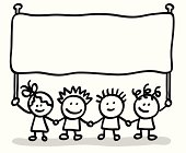 vector illustration of lineart happy and friendly childrens holding message banners.