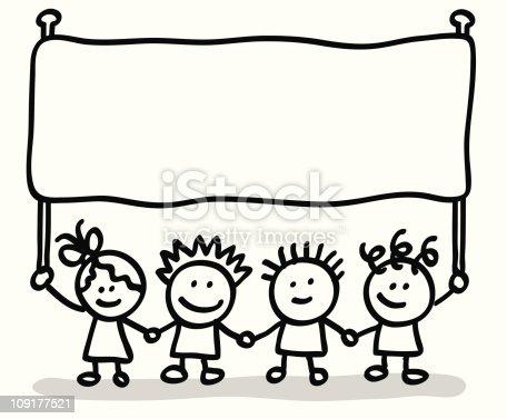 Lineart Children With Banner stock vector art 109177521 ...