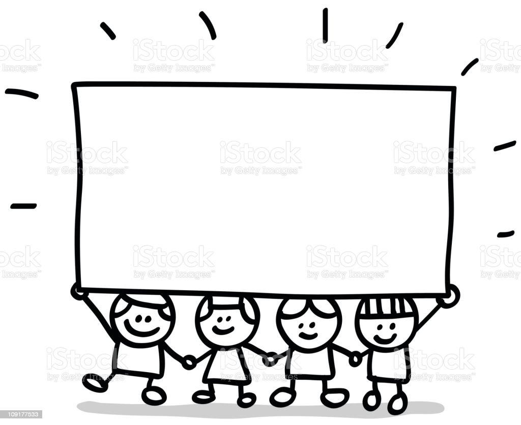 Lineart Children With Banner Stock Vector Art Amp More
