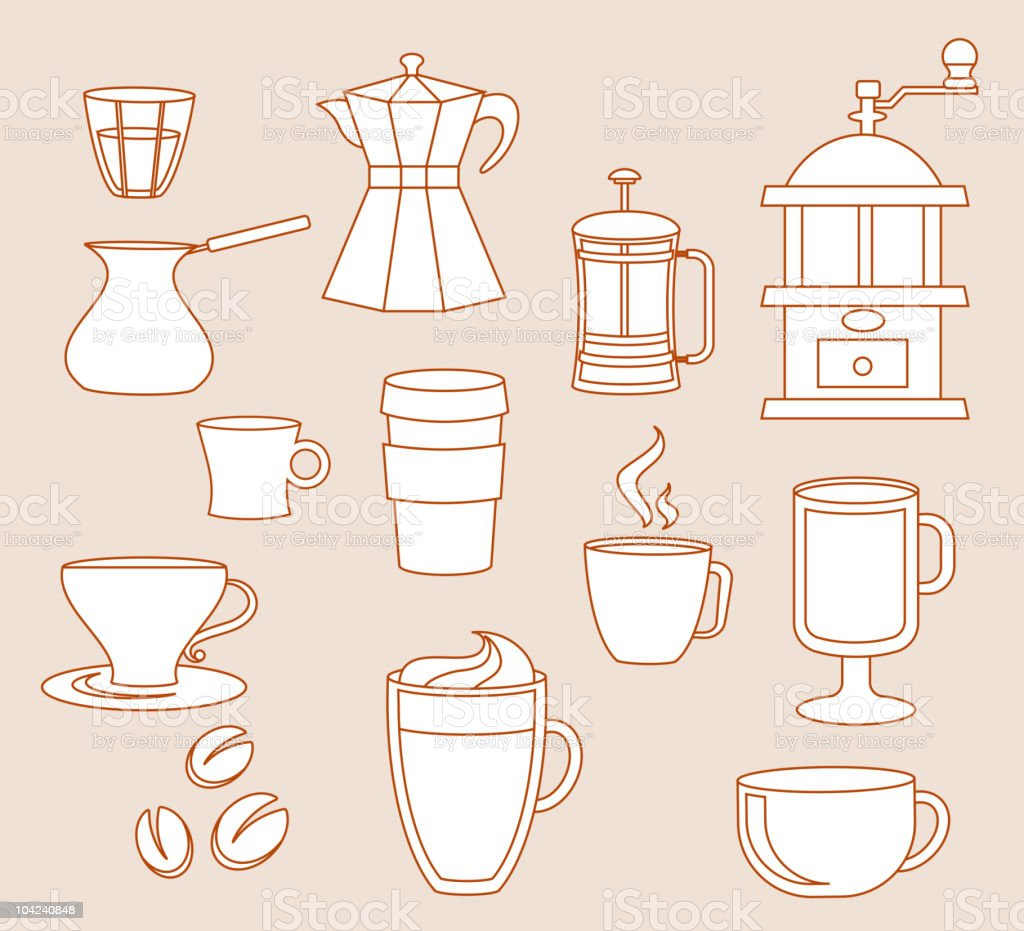 Line-art coffee shop elements royalty-free stock vector art