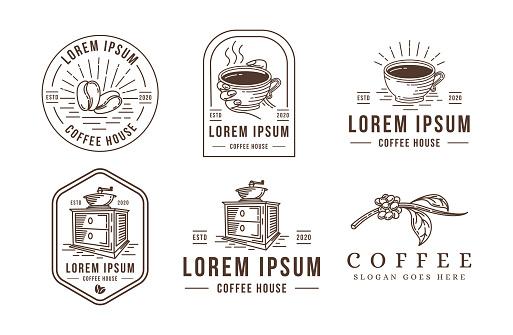 Lineart coffee vector illustration set