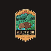 Lineart Emblem patch vector illustration of Lamar Valley Yellowstone National Park