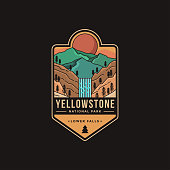 istock Lineart Emblem patch vector illustration of Lower falls Yellowstone National Park 1272551621