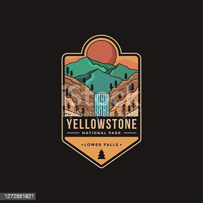Lineart Emblem patch vector illustration of Lower falls Yellowstone National Park
