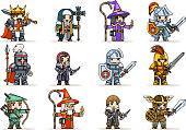 Lineart fantasy set rpg game heroes character vector icons flat design vector illustration