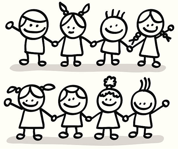 Royalty Free Drawing Of Black And White People Holding ...