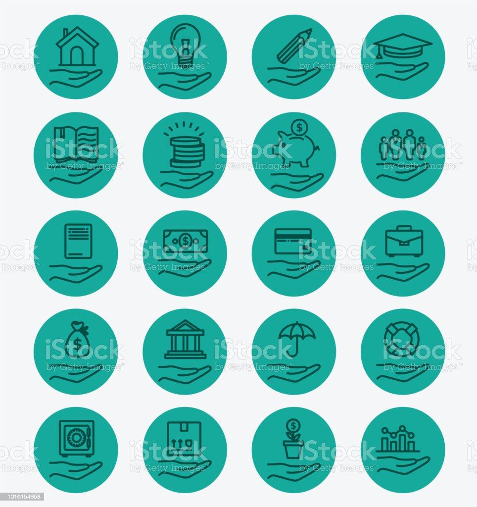 Lineart sigorta yeşil Icons set vektör sanat illüstrasyonu