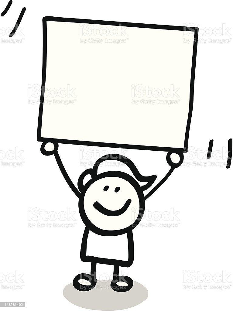 Lineart kid with banner cartoon royalty-free stock vector art