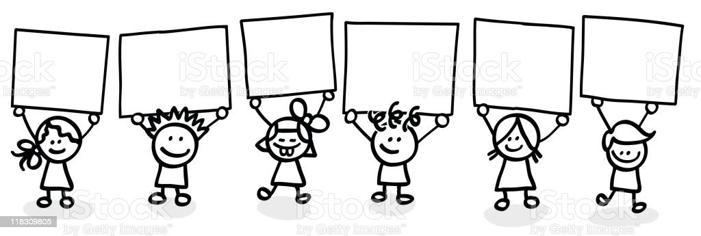 Lineart kids with empty banners royalty-free lineart kids with empty banners stock vector art & more images of back to school
