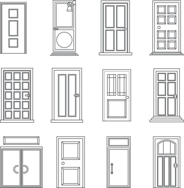 lineart alte türen icons set flach hausentwurf isoliert vektor-illustration - türklopfer stock-grafiken, -clipart, -cartoons und -symbole