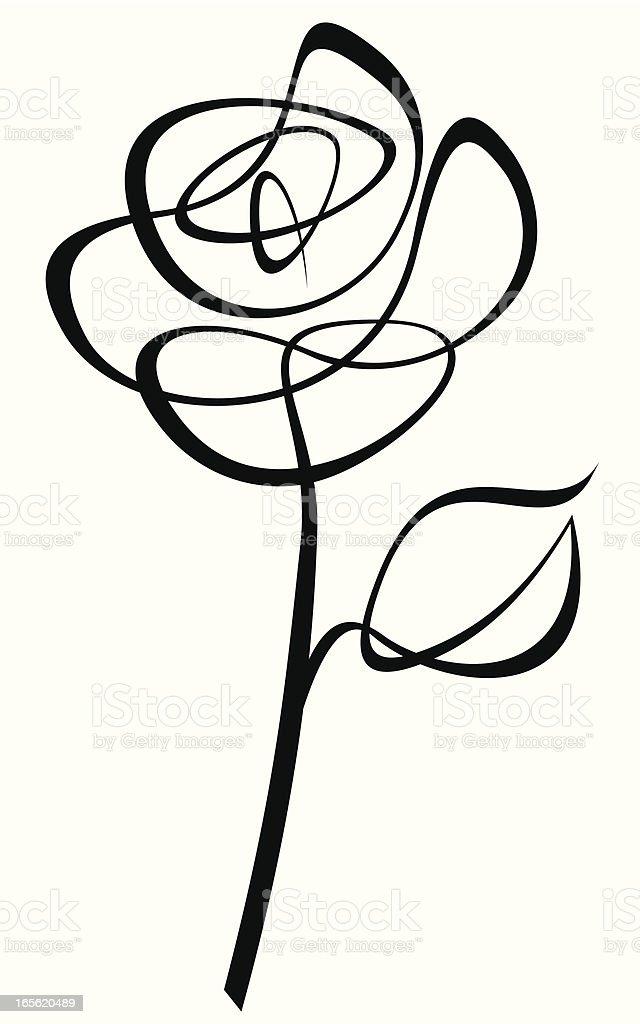 Lineart Rose vector art illustration