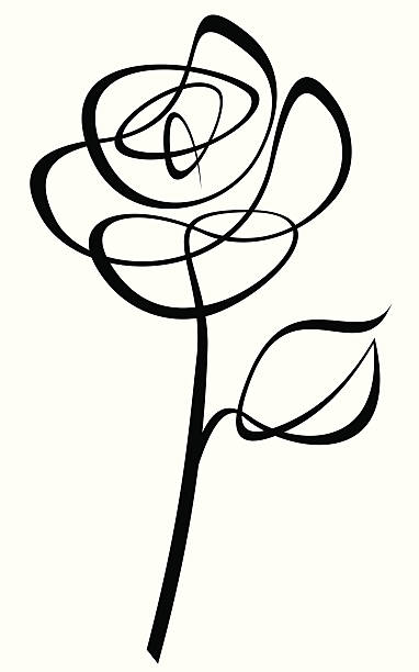 Line Drawing Of Rose Flower : Royalty free rose clip art vector images illustrations