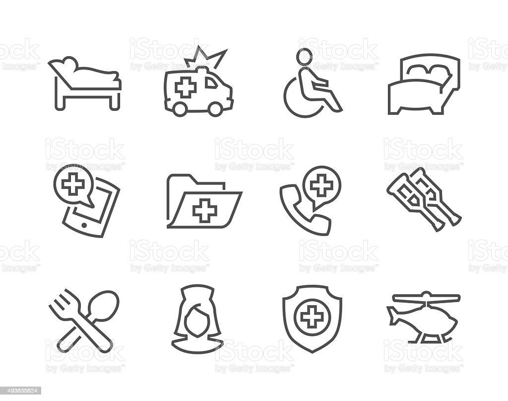 Lined Medical Transportation Icons vector art illustration