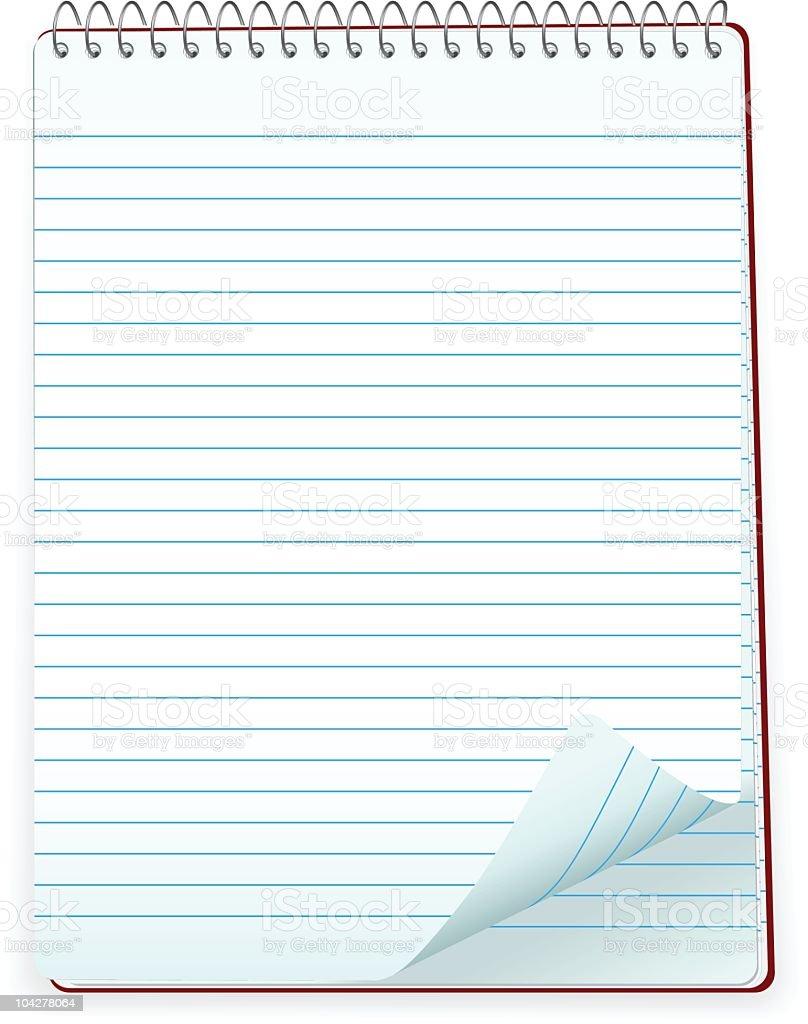 Lined notepad vector art illustration
