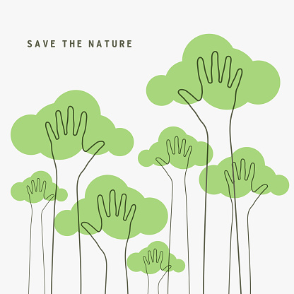 Lined of hands raised up like trees. Save the Nature, save the world concept.