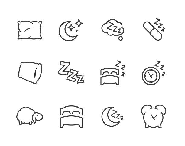 Lined Sleep Well Icons Simple Set of Sleep Related Vector Icons for Your Design. bedroom patterns stock illustrations