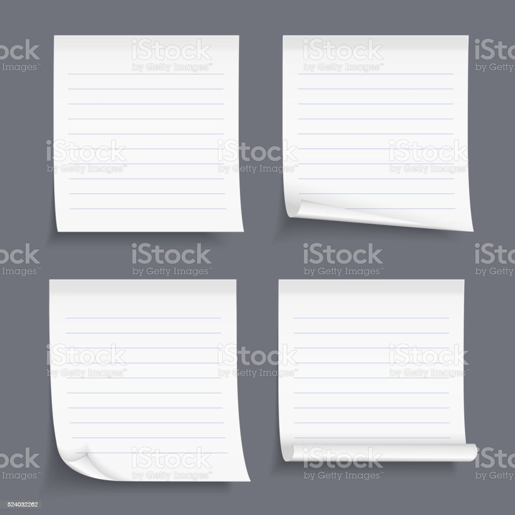 Lined Sticky Notes vector art illustration