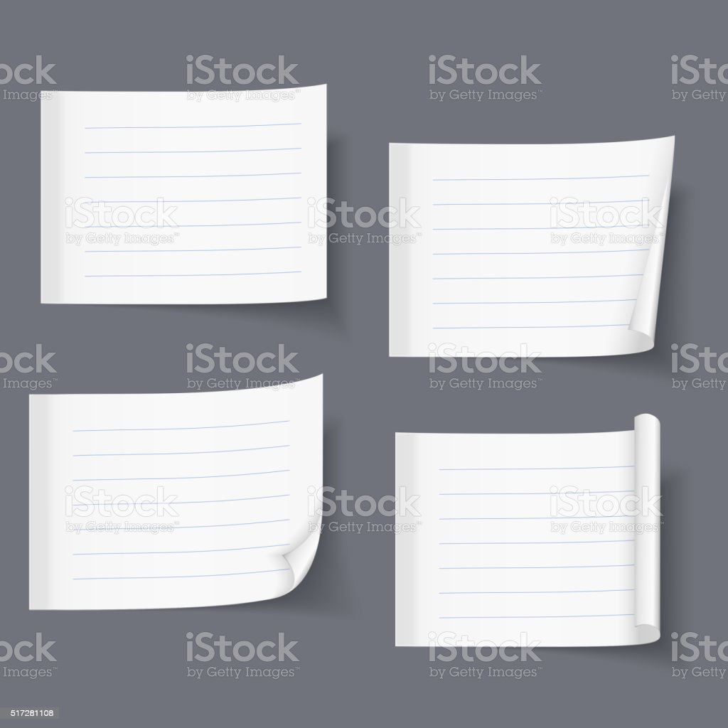 Lined Sticky Papers vector art illustration