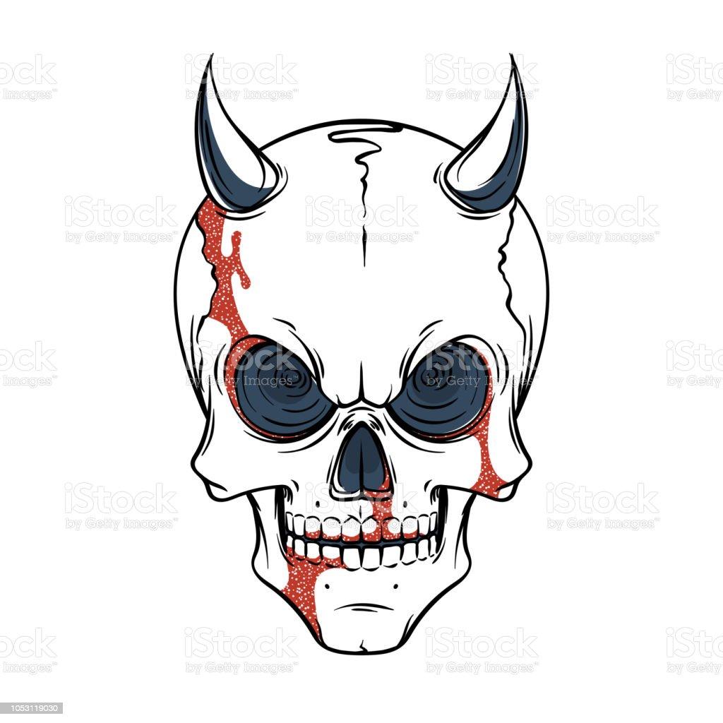 Lined Tattoo Illustration Of Skull Stock Illustration