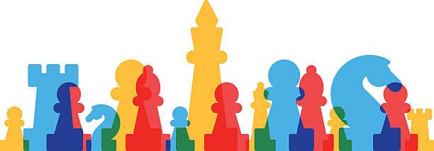 bildbanksillustrationer, clip art samt tecknat material och ikoner med lined up chess pieces - häst tävling