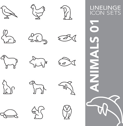 Linelinge 動物 01 細線圖示集向量圖形及更多一片圖片