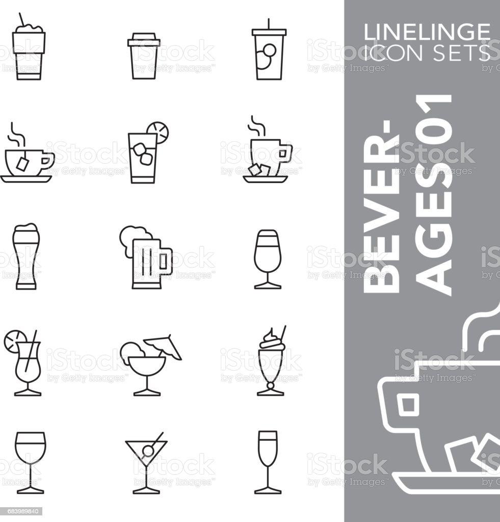 Linelinge bebidas 01 delgada línea icono sistemas - ilustración de arte vectorial