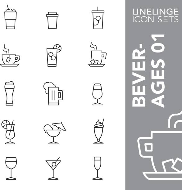 linelinge beverages 01 thin line icon sets - refreshment stock illustrations, clip art, cartoons, & icons
