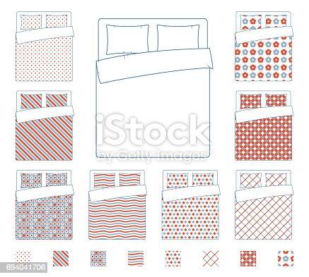 istock Linen and bedding, duvet vector textile patterns template 694041706
