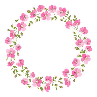 Linen flower wreth isolated over white background. Vector illustration
