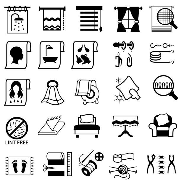 bettwäsche, kurzwaren und haushalt stoff symbole. - stoffrollos stock-grafiken, -clipart, -cartoons und -symbole