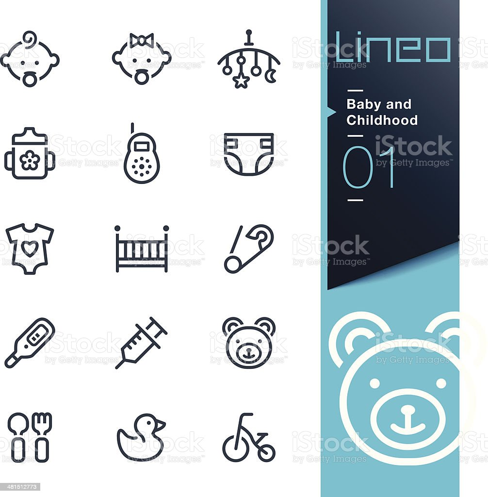 Lineo - Baby and Childhood outline icons vector art illustration
