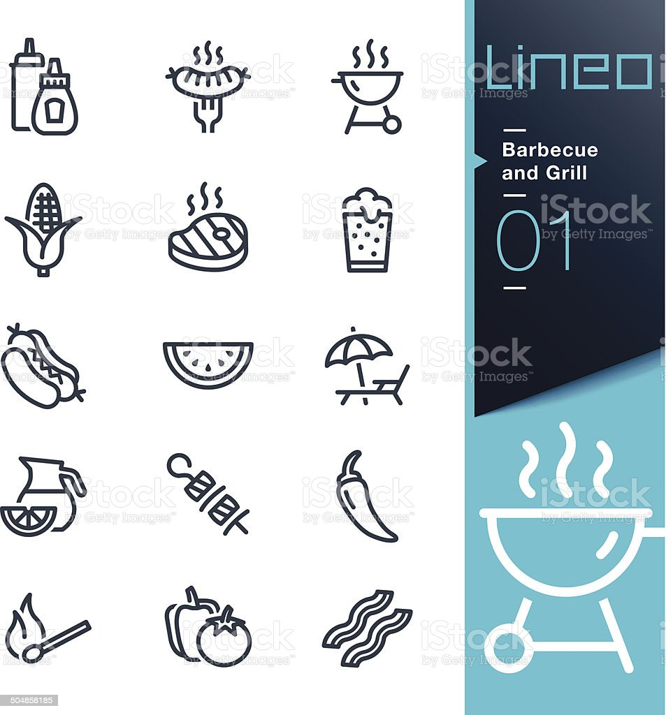 Lineo - Barbecue and Grill outline icons vector art illustration