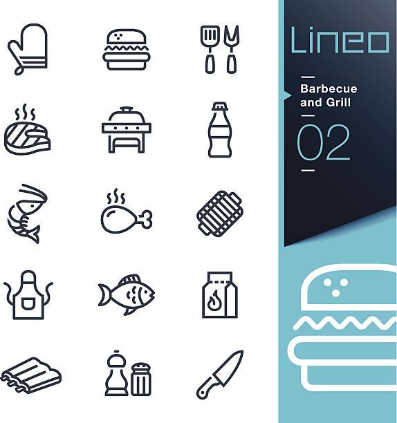 Lineo-Barbecue e Grill icone di contorno - illustrazione arte vettoriale